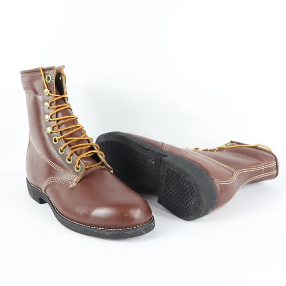 52e014f5c74 Vtg New Georgia Mens 9 M Leather Logger Boots
